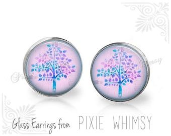 TREE Earrings, Tree Jewelry, Tree Stud Earrings, Tree Post Earrings, Stud Pierced Earrings, Watercolor Tree, Pastel Aqua Lavender Purple