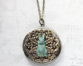 Rabbit Locket, Large Round Locket, Photo Locket, Layering Necklace, Vintage Style, Antiqued Gold Brass, Bunny Hare, Easter Gift, Unique Gift