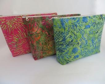 Large Zipper Pouch, Cosmetic Bag, Travel/Sundries Bag, Flat Bottom Zippered Pouch, Makeup Bag, Hawaiian