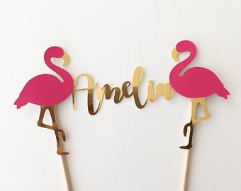 Custom Name Flamingo Cake topper - Available in glitter and metallic colours