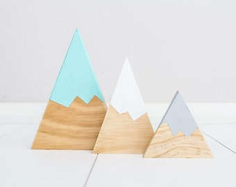 Mountain triangle blocks personalised nursery home decor