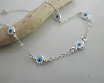 multi evil eye sterling silver chain bracelet - multiple evil eyes bracelet - greek jewelry - evil eye jewelry - protection bracelet