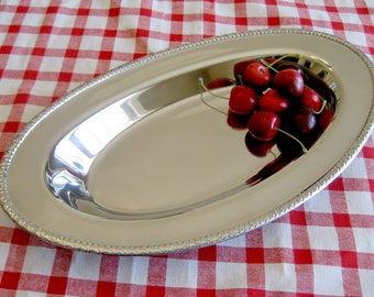 Stainless Serving Dish / Retro Plate Bread Tray / MSJ Stainless Serving Tray / Vanity Tray / Dresser Tray