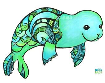 Monk Seal, beach, nursery decor, ocean, whale, Hawaii, turquoise, aqua, art print