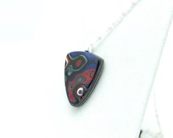 Detroit Fordite Necklace Recycled Vintage Auto Paint Red Green White Swirls Faux Bois Small Petite Medallion Sterling Upcycled Shield Blue