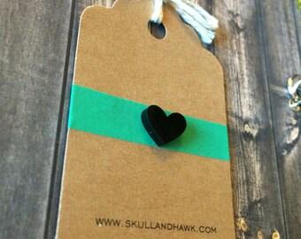 Tiny Black Heart Pin - Tie Tack - Acrylic Lapel Pin - Gothic - Emo