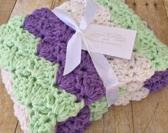 Baby Blanket Crochet - Crochet Baby Blanket - Purple Mint Nursery - Baby Girl Afghan - Crochet Afghan - Crochet Blanket - Stroller Blanket