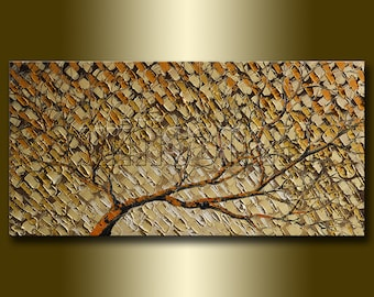 Birch Oil Painting Textured Palette Knife Abstract Original Art 15X30 by Willson Lau