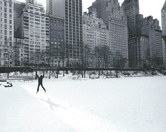 NYC, Central Park with Jumping Man, 1977. An Original Photo Art Card.