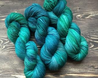 Teal hand dyed yarn, sock yarn, superwash merino, sport yarn, teal yarn, aqua yarn