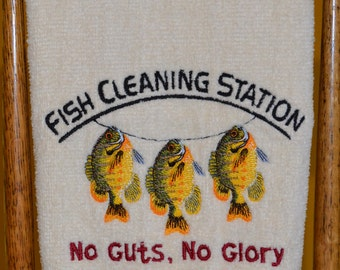 Embroidered Fishing Bathroom Hand Towel