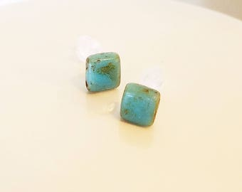Square turquoise stud earrings with plastic posts and rubber backs for super sensitive ears