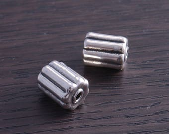 Sterling Silver Artistic Bead Fluted Cylinder (sold in pack of 2 ) DB4J
