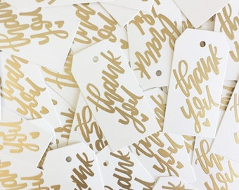 Hand Lettered Embossed Thank You Tags | Perfect for weddings, bridal showers, birthday parties etc | Gift Tags | Gold and White Tags |