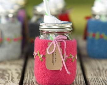 Pint size Felted wool mason jar cozy set pink with flowers pint size