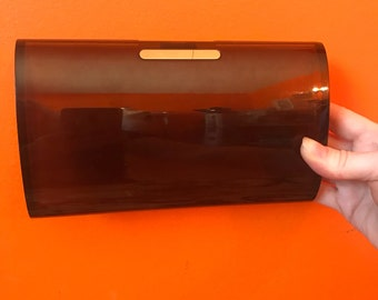 Small Brown Clutch- Plastic Clutch- 60s Mod- Estee Lauder- Lucite Handbag- Plastic Purse- Evening Bag- Small Gifts for Her- Gifts Under 30