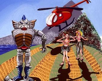 """Hula Helicopter satirical painting, original art, gouache, 12"""" x 12.25"""" lowbrow, weird art,"""