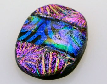 Dichroic Cabochon, Handmade Cabochon, Rectangle Cabochon, 22 mm x 29 mm, Mosaic Dichroic Tile, Glass Cab, Jewelry Cab, Decorative Tile