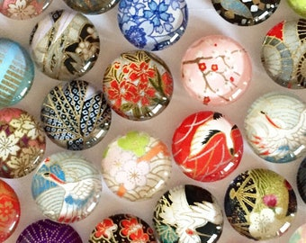 Washi paper Glass Magnets - 2 magnets