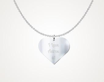 "Sterling Silver Houston Astros Carlos Correa  ""I Love Astros #1"" Sterling Silver Heart Pendant Stirling Silver .925"