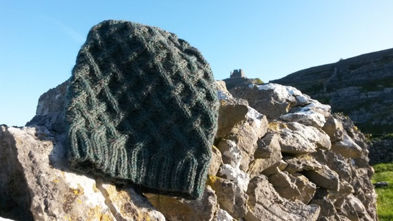 Slouchy Beanie Aran Hat: handknit in pure wool. Original design. Made in Ireland. Unisex. Green wool hat. Great gift for boyfriend or teen.