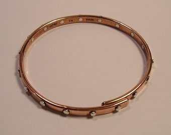 Pure Copper or Blackened Niobium Bangle with 18 Sterling Silver Rivets