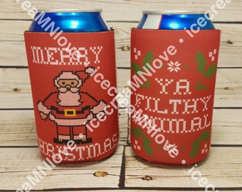 Red Merry Christmas Ya Filthy Animal can cooler | home alone can cooler | ugly christmas sweater can cooler | custom holiday can coolers