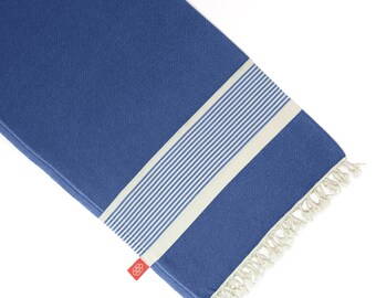 Large (1.9m) Bamboo Turkish Beach Towel in Indigo by Lalen