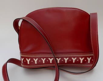 Sale! YSL Yves Saint Laurent Vintage Dark Red and White Leather Shoulder Bag  . French designer purse.