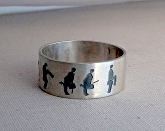 Personalized ring, comedy ring, Monty Pythons, flying circus, John Cleese, Sterling Silver, personalized jewelry, TV ring, Silly ring, Walk
