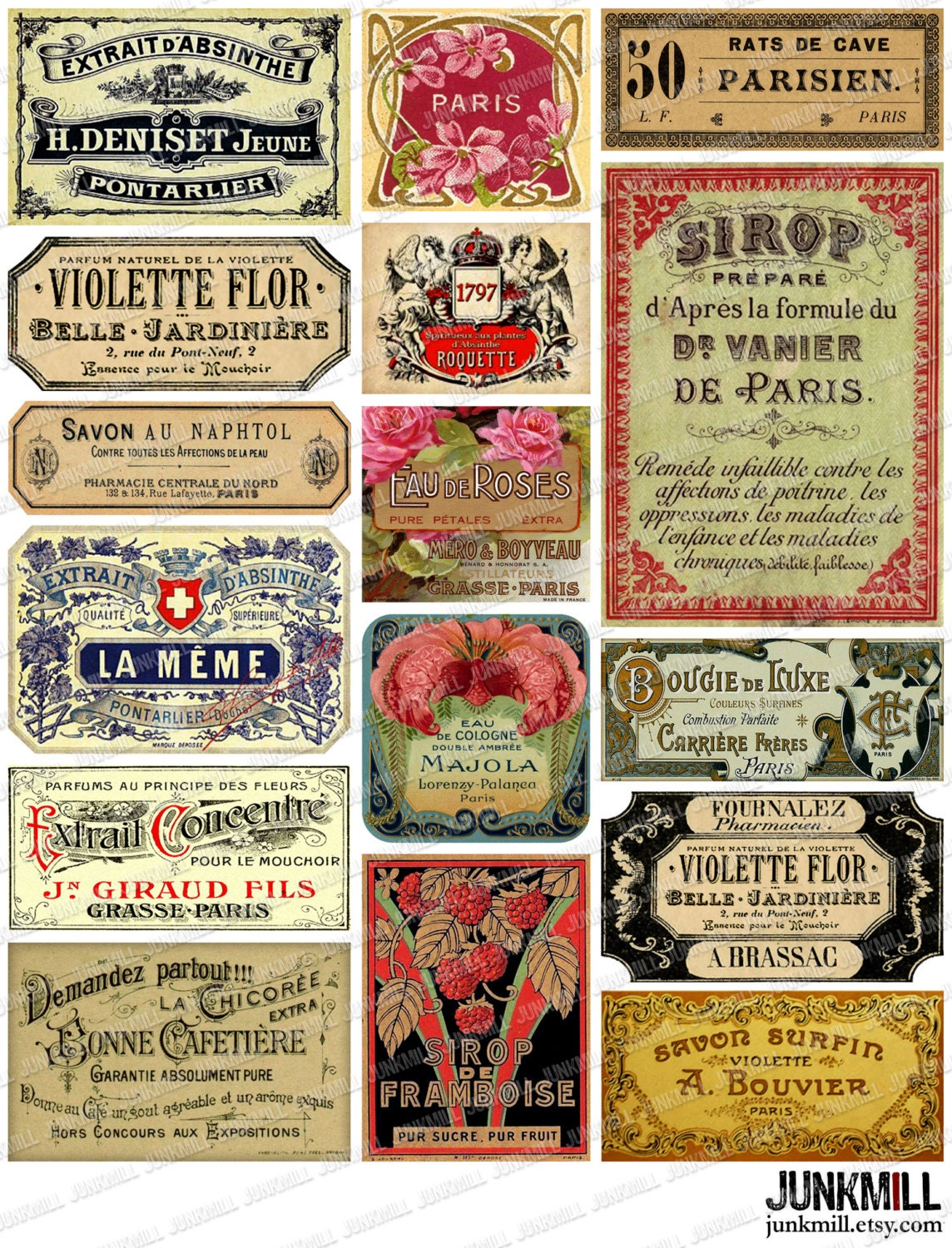Very PARISIAN LABELS - Digital Printable Collage Sheet - Vintage French  MB79