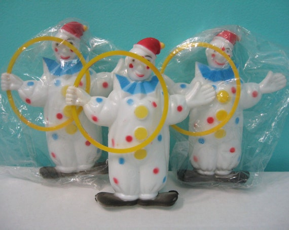 Lot Of 3 Vintage Circus Clown Cake Toppers Hard Plastic Made In Hong