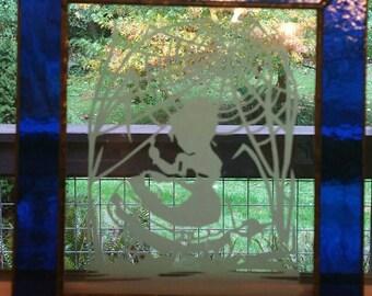 Vintage  leaded glass window artwork