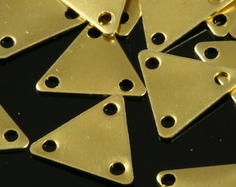300 Pcs Raw Brass 9x10 mm Triangle tag Charms with 3 hole  ,Findings 621R-54 tmlp