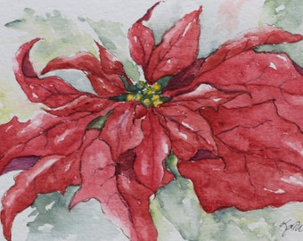 Christmas Red Poinsettia Watercolor Painted Card Holiday Card Handpainted- Prints