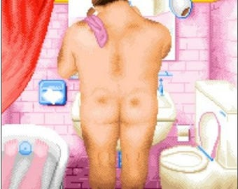1 CROSS stitch, PATRON BOTERO bath man. Famous cross stitch pictures