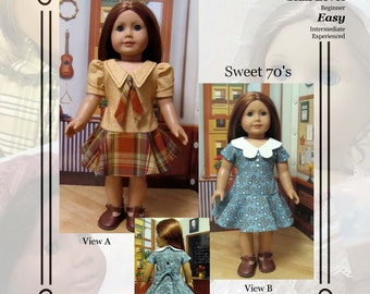 """PDF Pattern KDD11 """"Sweet 70's"""" -An Original KeepersDollyDuds Design, makes 18"""" Doll Clothes"""