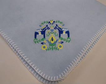 Swedish Dala Horses & Flowers - Fleece Baby Blanket #IB532