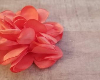 "2"" Satin Flower, Burned Edge flower, fabric flower, Singed Satin flower, DIY supplies, Headband flower, satin Flower, Coral, watermelon"