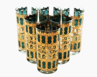 Vintage Signed Culver Emerald Scroll Highball Glasses - Set of 6