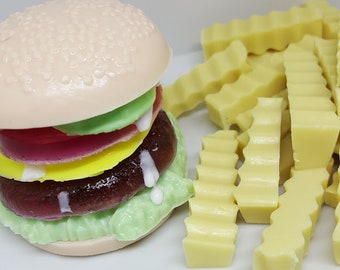 Burger and Fries Soaps - Food Soap - Cheeseburger Soap - Burger Soap - Gag Gift Soap - Cheeseburger and Fries Soaps - Hamburger Soap