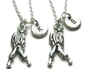 2 Zombie Personalized Best Friends Necklaces, Zombie Necklaces, 2 Best Friends Necklaces, Friends Necklaces, BFF Necklaces, Personalized BFF