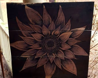 Hand Painted Sunflower Wood Wall Hanging Sign