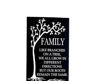 Moving Away Gift Idea For Family Member, Roots Rustic Wooden Wall Art Hanging Sign, Family Like Branches On A Tree