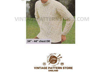 Mans 1980s, crew neck, heavily cabled and textured, raglan sweater jumper in DK - Vintage PDF Knitting Pattern 1786