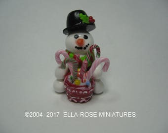 12th scale miniature handcrafted Snowman Candy Display