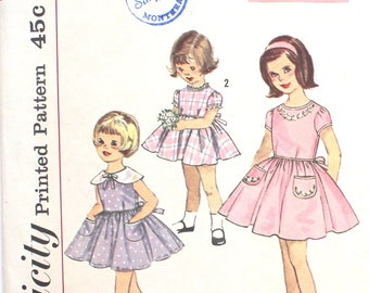 1950s Girls Party Dress Size 3 Simplicity 4325 Vintage Sewing Pattern