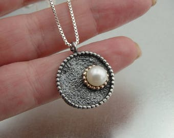 Pearl 925 Silver Gold Necklace, Freshwater White Pearl 9K Rose Gold Sterling Silver, Wedding Bridesmaid Gift, Free Shipping, Wedding Jewelry