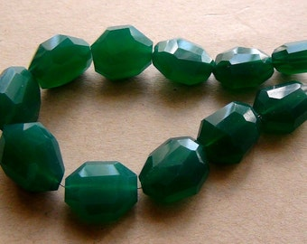 Green onyx faceted green onyx nugget - 12-15mm - 6.5 inch