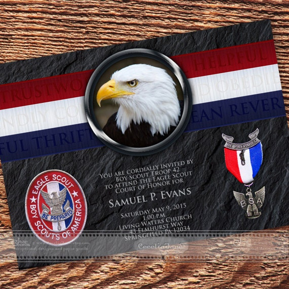 Eagle Scout Court of Honor invitation, BSA invitation, Eagle Scout commemoration, Boy Scouts of America invitation, BSA invitation, IN409